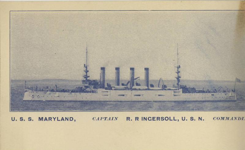 "<a href=""/items/browse?advanced%5B0%5D%5Belement_id%5D=50&advanced%5B0%5D%5Btype%5D=is+exactly&advanced%5B0%5D%5Bterms%5D=USS+Maryland%2C+Captain+RR+Ingersoll%2C+USN%2C+Commanding"">USS Maryland, Captain RR Ingersoll, USN, Commanding</a>"