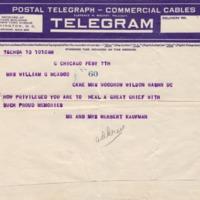 Mr. and Mrs. Herbert Kaufman to Eleanor Randolph Wilson McAdoo