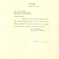 Herbert Hoover to Joseph P. Tumulty