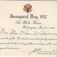 Inauguration Ticket for Eleanor Randolph Wilson McAdoo