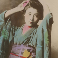 Woman in Kimono with Flower in Her Hair