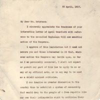 Woodrow Wilson to Arthur Brisbane