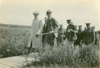 Woodrow Wilson on Boardwalk in Belgium. Brand Whitlock with Cane