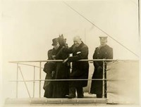 Eleanor Foster Lansing, Edith Bolling Woodrow Wilson Wilson, and Cary T. Grayson on the Bridge of the USS George Washington