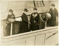 Woodrow Wilson and Edward McCauley Jr. on the Bridge of the USS George Washington
