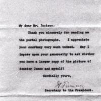 Joseph P. Tumulty to Edward N. Jackson