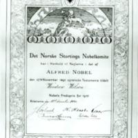 Nobel Peace Prize Certificate to Woodrow Wilson