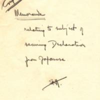 Note on Memorandum on Japanese Declaration