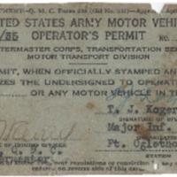 United States Army Motor Vehicle Operator's Permit – no. 4013: TJ Koger