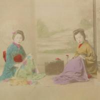 Two Women in Kimonos Kneeling