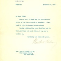Woodrow Wilson to John Thomas Wilds