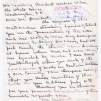 William W. Sanders to Woodrow Wilson