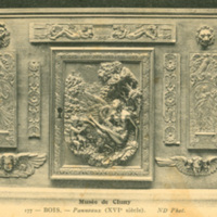 Postcard of wood panel from the Musee de Cluny