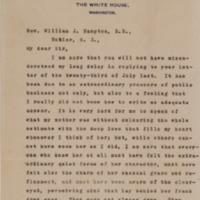 Woodrow Wilson to William J. Hampton