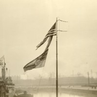 American Flag on Captured German Submarine in Thames River, England.