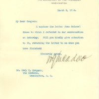 William G. McAdoo to Cary T. Grayson