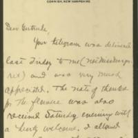 Cary T. Grayson to Alice Gertrude Gordon Grayson