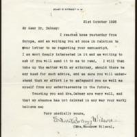 Edith Bolling Wilson to Richard Heath Dabney