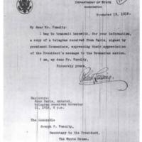 Robert Lansing to Joseph P. Tumulty