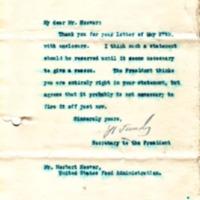 Joseph P. Tumulty to Herbert Hoover