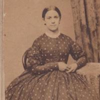 Carte de visite of woman in polka dot dress