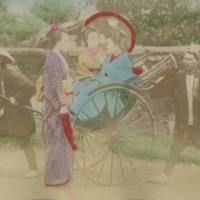 Women in Kimonos and Rikshaw Drivers