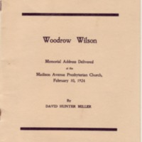 Memorial Address for Woodrow Wilson, Madison Ave. Presbyterian Church