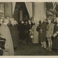 Woodrow Wilson with a Group of People, Probably at the Paris Peace Conference