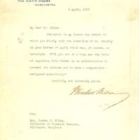 Woodrow Wilson to Joshua W. Miles