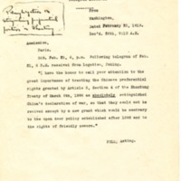 Forwarded Telegram from the American Legation in Peking