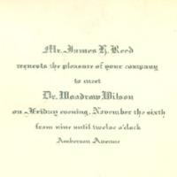 Invitation to Meet Woodrow Wilson