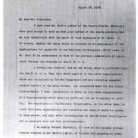 Newton D. Baker to Woodrow Wilson