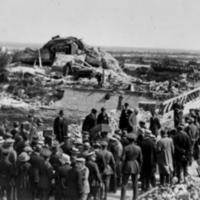 Woodrow Wilson and King Albert of Belgium View Ruins of Nieuport, Belgium