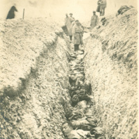 Bodies in a German Trench after a Bombing