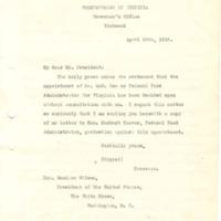 Westmoreland Davis to Woodrow Wilson