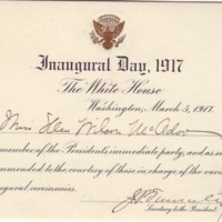 Inauguration Ticket for Eleanor Randolph Wilson McAdoo