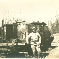 Soldier Posing With Tank