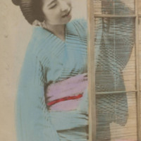 Woman with a Fan next to a Screen
