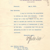 Recommendation Letter from William G. McAdoo to Governor William Sulzer