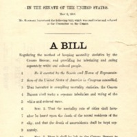US Senate Bill Regulating the Method of Keeping Mortality Statistics by the Census Bureau, and Providing for Tabulating and Rating Separately White and Colored People
