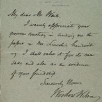 Woodrow Wilson to Jesse Weik