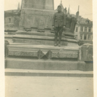 Sgt. Sam Lane in Front of Statue in Place St. Quentin,