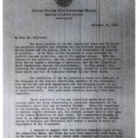 Bernard M. Baruch to Woodrow Wilson