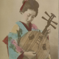 Woman in Kimono with Stringed Instrument