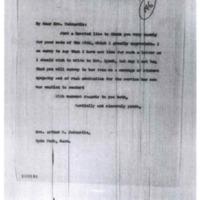 Woodrow Wilson to Agnes B. Tedcastle