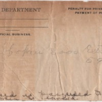 Envelope for trip pass with handwriting on front