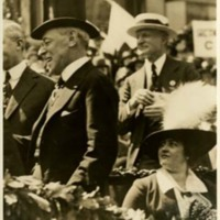 Woodrow Wilson and Edith Bolling Wilson Reviewing a Red Cross Parade