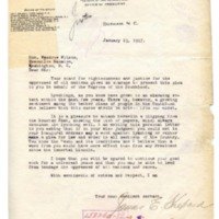 James E. Shepard to Woodrow Wilson