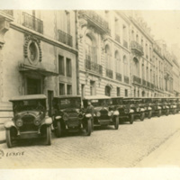 Line of Automobiles with Soldiers at Wheels, Rue Nitot