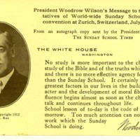 Wilson's Message to Sunday School Convention